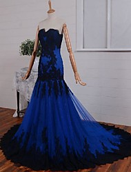 Fit & Flare Sweetheart Court Train Lace Tulle Formal Evening Dress with Appliques by DRRS