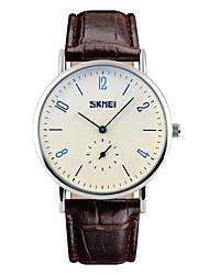 SKMEI Homens Relógio Elegante Relógio de Moda Quartzo Impermeável Couro Banda Legal Preta Marrom