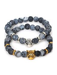1Pc 8mm Round Natural Dream Fire Dragon Veins AgateStone Bracelet With Leopard Head(19cm Length)