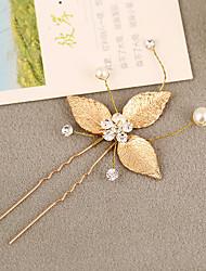 Damen Strass Messing Legierung Künstliche Perle Kopfschmuck-Hochzeit Haarklammer 1 Stück