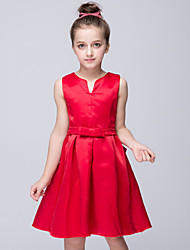 Girl's Red Dress,Solid Polyester Summer