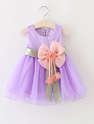 cheap -Baby Girls Party/Cocktail Lovely Solid Dress, Summer / Spring / Fall Blue / Green / Pink / Purple / Yellow Clothing