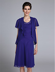 Sheath / Column Scoop Neck Knee Length Chiffon Mother of the Bride Dress with Beading by LAN TING BRIDE®