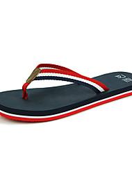 Women's Summer Flip Flops Canvas Casual Chunky Heel Black White