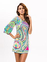 Недорогие -Для женщин Пляж  Богемный Оболочка Платье С принтом,На одно плечо Мини Полиэстер Спандекс Лето Со стандартной талией Эластичная