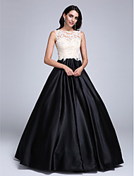 cheap -Ball Gown Jewel Neck Floor Length Lace Stretch Satin Prom Dress with Beading Appliques by TS Couture®