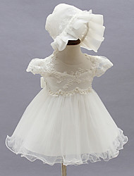 2pcs Baby Girl's White Dress, Bow Polyester All Seasons