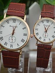 Недорогие -Для пары Модные часы Нарядные часы Кварцевый согласование Его и ее Стеганная ПУ кожа Черный / Белый / Коричневый Повседневные часы Аналоговый Белый Черный Коричневый