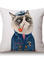 cheap -Cotton/Linen Pillow Cover,Novelty / Animal Print / Graphic Prints Modern/Contemporary / Casual