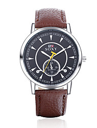 cheap -Men's Fashion Round Leather Wristwatches Glass Analog Quartz Watch Casual Business Style Relogio Masculino