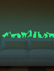 9Pcs/Set Luminous Wall Stickers Cats Decorative Wall Luminous Fluorescent Wall Stickers Home Decor Living Room
