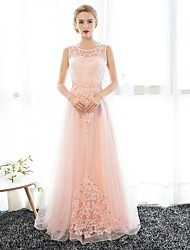 Sheath / Column Illusion Neckline Floor Length Satin Tulle Prom Formal Evening Dress with Appliques Crystal Detailing by Embroidered bridal
