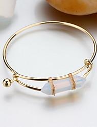 cheap -Alloy Natural Stone Gem Adjustable Cuff Bangle Bracelet