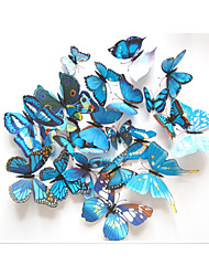 cheap -12 PCS Colorful Blue Butterfly Stickers Animals Decals 3D Wall Stickers Plane Wall Stickers,Plastic 12pcs