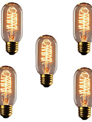 abordables -5pcs 40W E26 / E27 T45 Blanco Cálido 2300k Retro / Regulable / Decorativa Bombilla incandescente Vintage Edison 220-240V