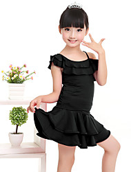 cheap -Latin Dance Outfits Children's Performance Milk Fiber Ruffles Short Sleeve Natural Top Skirt