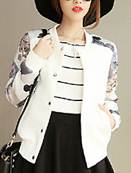 cheap -Women's Casual/Daily Street chic Spring / Fall Jackets,Floral Round Neck Long Sleeve White / Black Cotton Thin