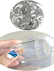cheap -4cm Nail Art Transparent Jelly Silicone XL Stamper Scraper With Cap Kit Nail Beauty Tools ND270