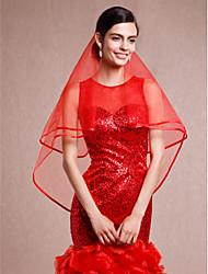 Недорогие -Один слой Кружевная кромка Закруглённый край Свадебные вуали Фата до локтя С Ленты Тюль