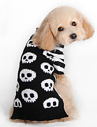cheap -Cat Dog Sweater Dog Clothes Skull Black Woolen Costume For Pets Men's Women's Fashion Halloween