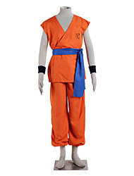 cheap -Inspired by Dragon Ball Goku Anime Cosplay Costumes Cosplay Suits Solid Sleeveless Top Pants Belt For Male