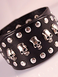 Skull Genuine Leather Jewelry Punk Wristband Handmade Classic Vintage High Quality Bracelets
