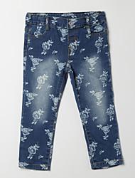 Mädchen Hose-Lässig/Alltäglich Blumen Baumwolle Herbst Blau