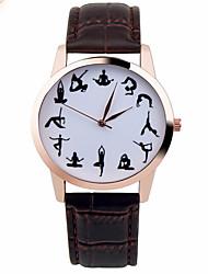 preiswerte -Damen Modeuhr Quartz Chronograph Leder Band Glanz Schwarz Weiß Braun