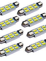 Jiawen 10pcs / lot festone 39 millimetri 1.2W 6x 5730 SMD hanno condotto le luci di segnalazione auto (12V DC)