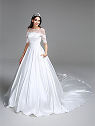 cheap -Ball Gown Illusion Neckline Cathedral Train Satin Custom Wedding Dresses with Sequin Appliques Ruched by LAN TING BRIDE®