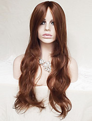 cheap -Synthetic Wig Wavy / Natural Wave Asymmetrical Haircut / With Bangs Synthetic Hair Natural Hairline Brown Wig Women's Long Capless