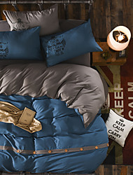 cheap -Duvet Cover Sets Solid Colored Polyester Reactive Print 4 Piece