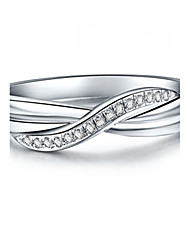 Siruiman T Brand Wedding Band Ring Elegant Women Jewelry Solid 925 Silver Twist Style