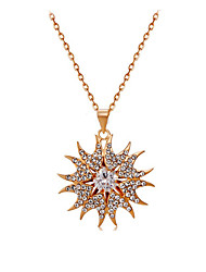 HKTC Exquisite Gift Jewelry 18k Rose Gold Plated Sunflower Design Crystal Decorated Pendant Alloy Necklace