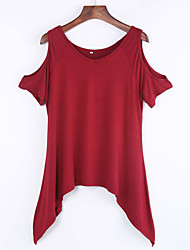 Women's Off The Shoulder Sexy Round Neck Ruffle T-shirt,Short Sleeve