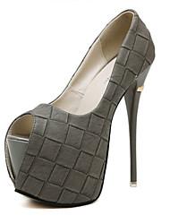 Ženske Cipele Umjetna koža Ljeto Stiletto potpetica Platforma Za Formalne prilike Zabava i večer Crn Sive boje