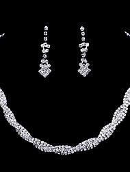 abordables -Juego de Joyas Collar / pendientes Moda Plata Collares Pendientes Para Boda Fiesta 1 Set Regalos de boda