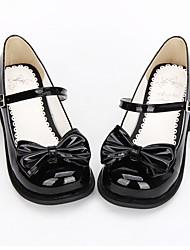cheap -Lolita Shoes Sweet Lolita Dress Classic Lolita Dress Flat Heel Shoes Bowknot 2.5 cm CM Black For PU Leather / Polyurethane Leather Halloween Costumes