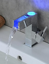 LED Bathroom Sink Faucet Single Handle Faucet With 3 Color Changing LED Light/Mixer Tap(Water Power)