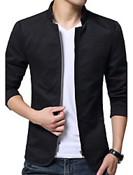 cheap -Men's Jacket - Solid Colored, Modern Style Stand / Long Sleeve