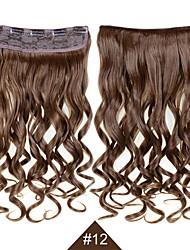 """abordables -clip en extensiones de pelo sintético 24 """"120g pelo de la fibra sedosa # 12 peluca rizado castaño ondulado sin derramamiento"""