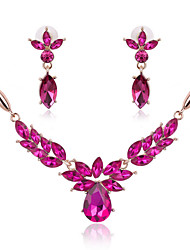 cheap -Women's Jewelry Set - Flower Statement Include Necklace / Earrings Dark Blue / Rose / Green For Wedding / Party / Daily