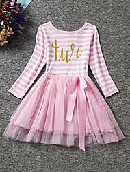 Vestito Girl Casual A strisce Poliestere Primavera / Autunno Nero / Rosa / Viola
