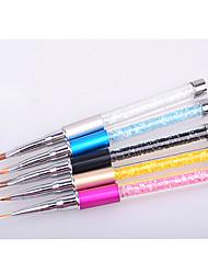 Недорогие -5шт маникюра кристалл инструмент резные фототерапии ручка покраска тянуть градиент точку цветок перо пыления ногтей перо