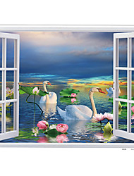 cheap -Lakefront Swan Lotus Flower Landscape Wall Stickers PVC Removable Bathroom Kitchen Living Room Wall Decals