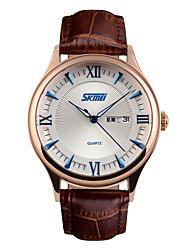 cheap -Skmei® Men's Fashion Round Dial Leather Strap Calendar Quartz Wrist Watch 30m Waterproof Assorted Colors