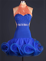 Shall We Performance Outfits Women Performance Spandex / Organza Paillettes / Ruched 1 Piece Royal Blue Latin Dance