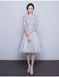 cheap -A-Line Illusion Neckline Knee Length Lace Bodice Cocktail Party / Prom Dress with Appliques by LAN TING Express