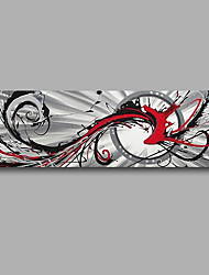 """Stretched (Ready to hang) Hand-Painted Oil Painting 48""""x16"""" Canvas Wall Art Modern Abstract Grey Red Black"""