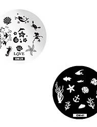 Недорогие -2 pcs Штамповочная плита шаблон Модный дизайн маникюр Маникюр педикюр Стиль / Мода Повседневные / Штамповка плиты / Металл